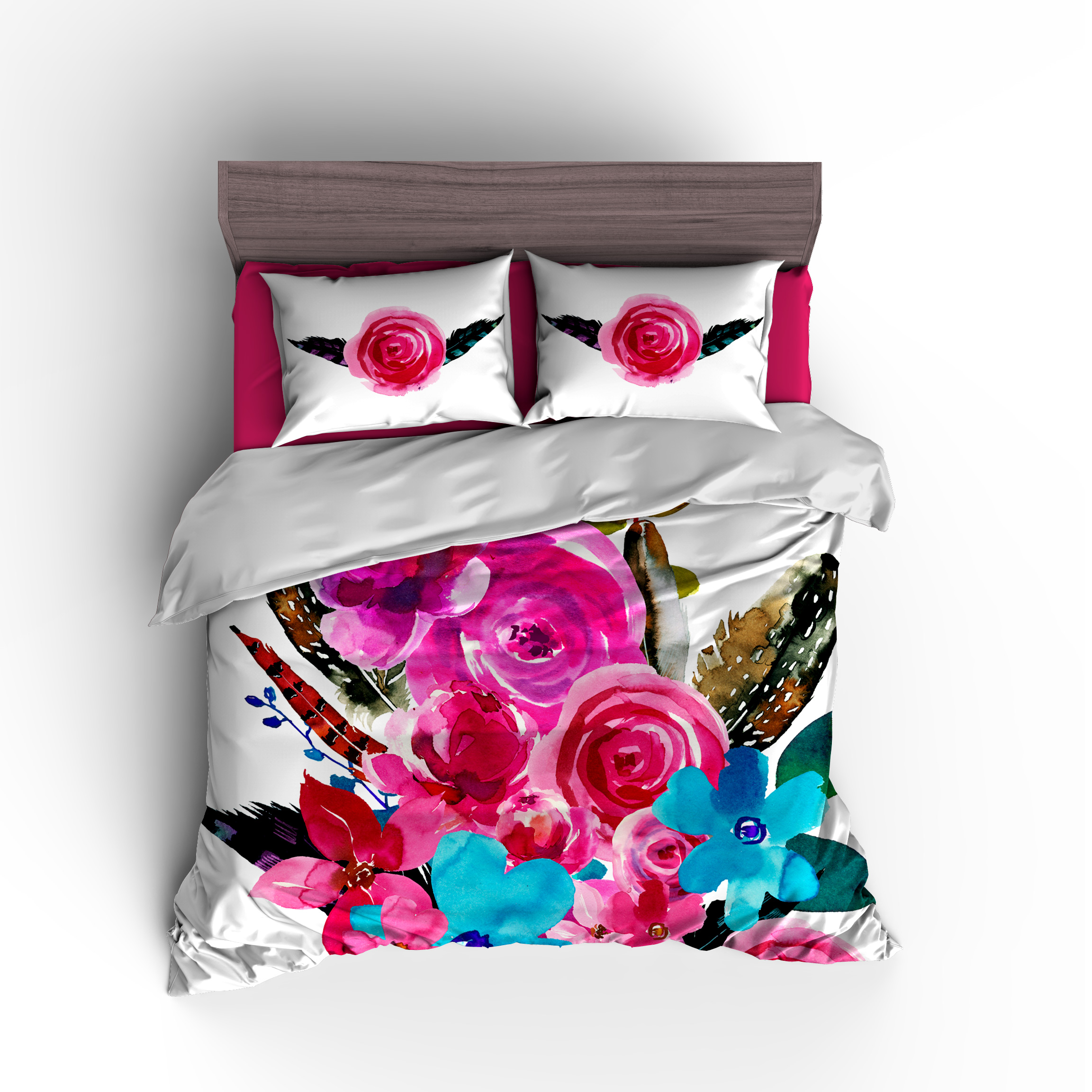 Flowers Amp Feathers Personalized Bedding Set Duvet Or