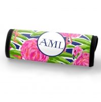 Fancy Flamingos Print Personalized Luggage Handle Wrap