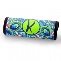 Peacock Feathers Print Personalized Luggage Handle Wrap