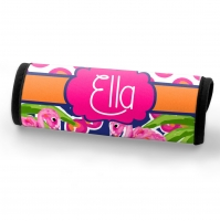 Fancy Flamingo & Polka Dots Custom Personalized Luggage Bag Handle Wrap, Luggage Finder