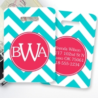 Chevron Monogrammed Bag Tag