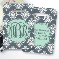 Damask Monogrammed Bag Tag