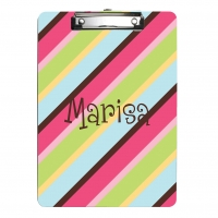 Cotton Candy Stripes Monogrammed Clipboard