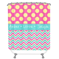 Chevron Polka Dot Personalized Shower Curtain