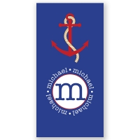 Red Anchor Personalized Beach Towel