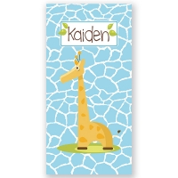 Giraffe Boy Personalized Kids Beach Towel
