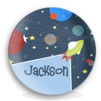 Rocket Ship Personalized Melamine Plate - Boy