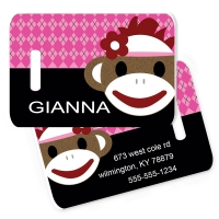 Sock Monkey Girl Monogrammed Bag Tag