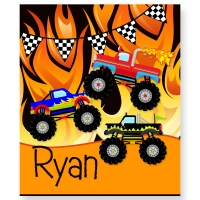 Monster Trucks Personalized Velveteen Plush Blanket