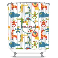 Jungle Animals Kids Personalized Shower Curtain