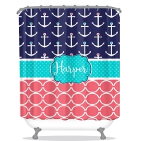 Anchors & Chain Pattern Personalized Shower Curtain
