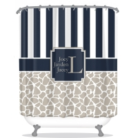 Giraffe & Stripe Pattern Personalized Shower Curtain