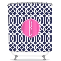 Lattice Print Personalized Shower Curtain