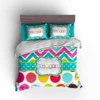 Rainbow Chevron Polka Dots Personalized Duvet or Comforter