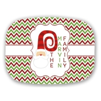 Santa Personalized Chevron Holiday Christmas Platter