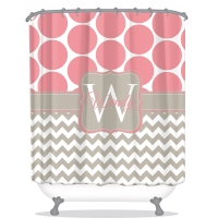 Big Dot Chevron Pattern Personalized Shower Curtain