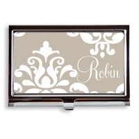 Custom personalized business card holder Monogrammed Damask business card holder