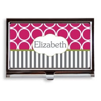 Personalized business card holders custom personalized business hoops stripe pattern business card caseholder reheart Images