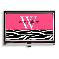 Zebra Initial Business Card Case/Holder