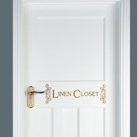 Linen Closet Scroll Vinyl Door Deca