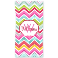 Colorful Chevron Personalized Beach or Bath Towel