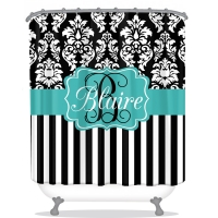 Dandy Damask Stripe Pattern Personalized Shower Curtain