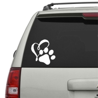 Heart Paw Vinyl Car Decal