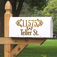 Vintage Damask Address & Street or Name Personalized Vinyl Mailbox Decal