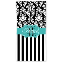 Dandy Damask Stripe Personalized  Damask Beach or Bath Towel