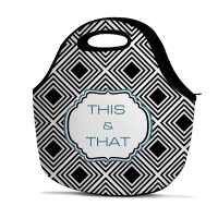 Geometric Diamond Print Personalized Insulated Lunch Tote