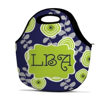 Lime Navy Leaf Personalized Insulated Lunch Tote