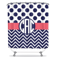 Polkadot chevron Pattern Personalized Shower Curtain