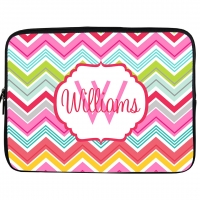 Colorful Chevron Monogrammed Laptop or iPad Sleeve