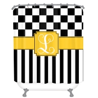 Checks & Stripes Personalized Shower Curtain