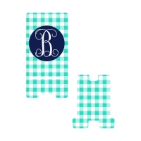 Personalized Mint Gingham Phone Stand