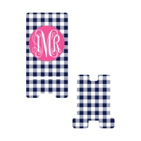 Personalized Navy Gingham Phone Stand