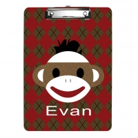 Sock Monkey Boy Personalized Clipboard