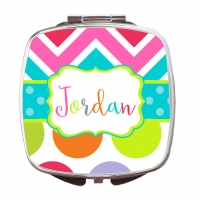 Rainbow Chevron Polka Dot Compact Mirror