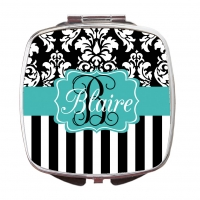 Dandy Damask Stripe Compact Mirror