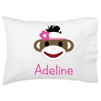 Sock Monkey Girl Kids Personalized Pillowcase