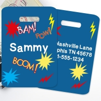 Super Hero Personalized Kids Bag Tag