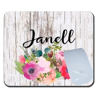 Old Wood & Watercolor Poppies Personalized Mousepad