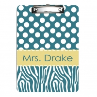 Zebra and Polka Dot Personalized Clipboard
