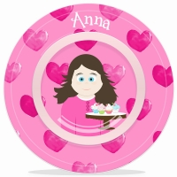 Personalized Kids Bowl -Little Me Girls Valentine Bowl