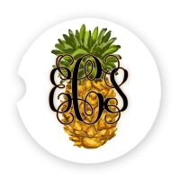 PIneapple Print Personalized Car Coaster