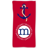 Nautical Anchor Personalized Beach or Bath Towel