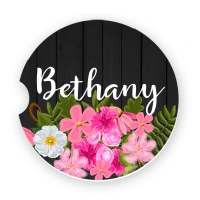 Watercolor Flowers Black Wood Watercolor Flowers Personalized Car Coasters