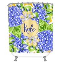 Blue Hydrangea Watercolor Personalized Shower Curtain