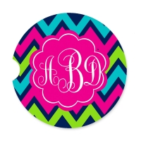 Chevron Lime, Navy & Pink Personalized Car Coaster