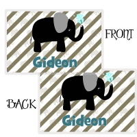 Elephant Boys Personalized Placemat, Custom Personalized Girls Placemat